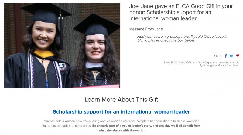 Scholarship support for an international woman leader
